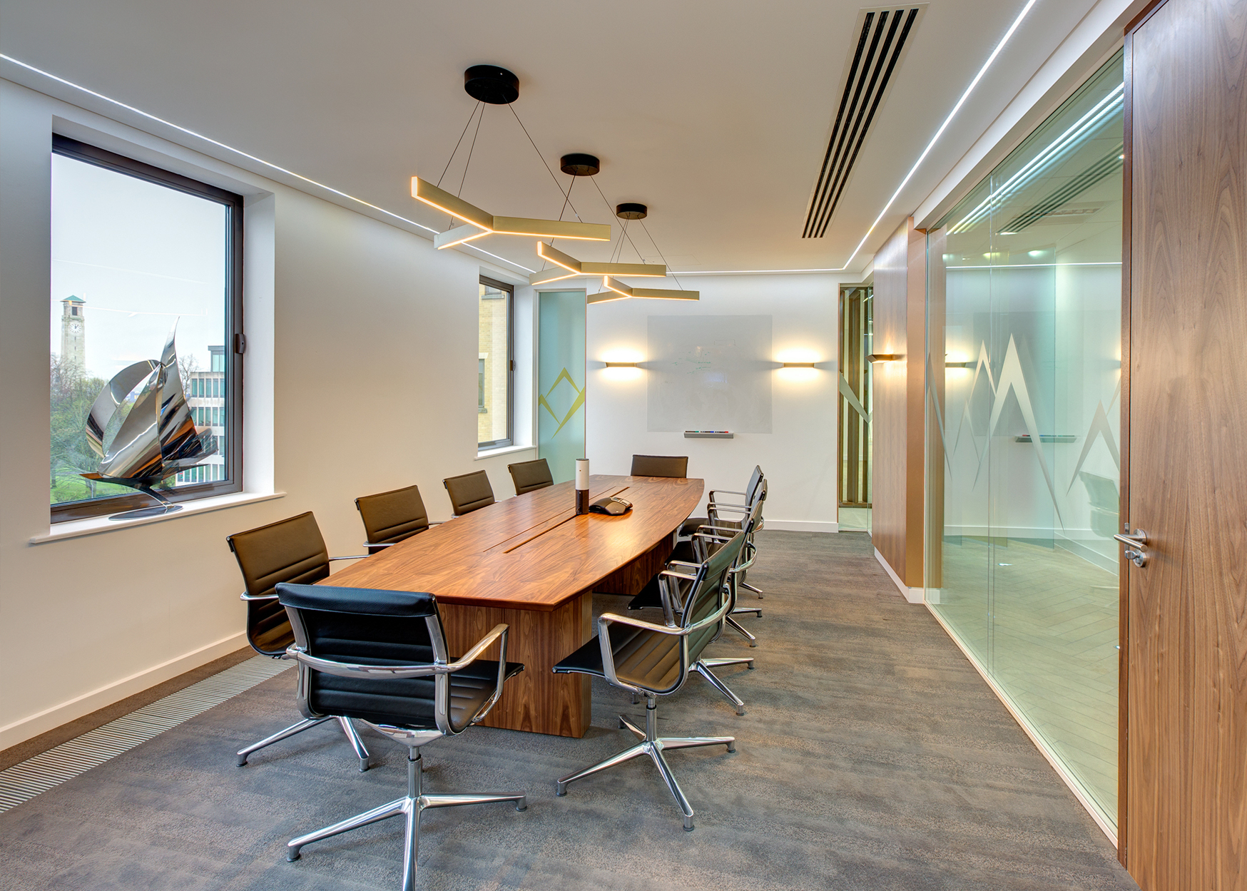 Interior Fit Out High End Specification Design With Glazed Partitioning Bespoke Joinery Feature Flooring Wall Panelling Finishes